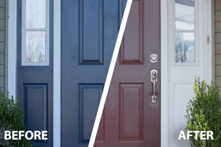 Doors done in a snap snapdry door trim paint - Painting a steel exterior door model ...