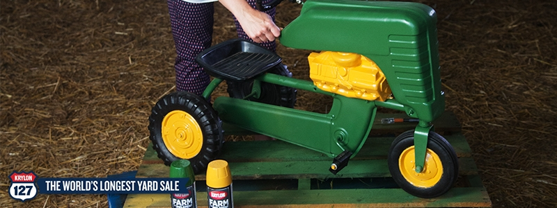 Make a toy tractor shine like new with Krylon® spray paint