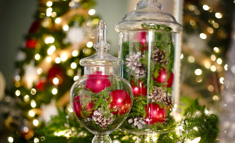 Ornaments sprayed with Krylon® glass paints