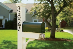 Metal Mailbox and Wood Post
