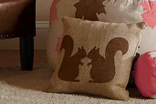 Burlap Squirrel Pillow