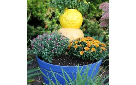 Pumpkin Planter Spray Paint Project