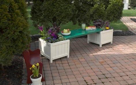 Outdoor Bench and Planter