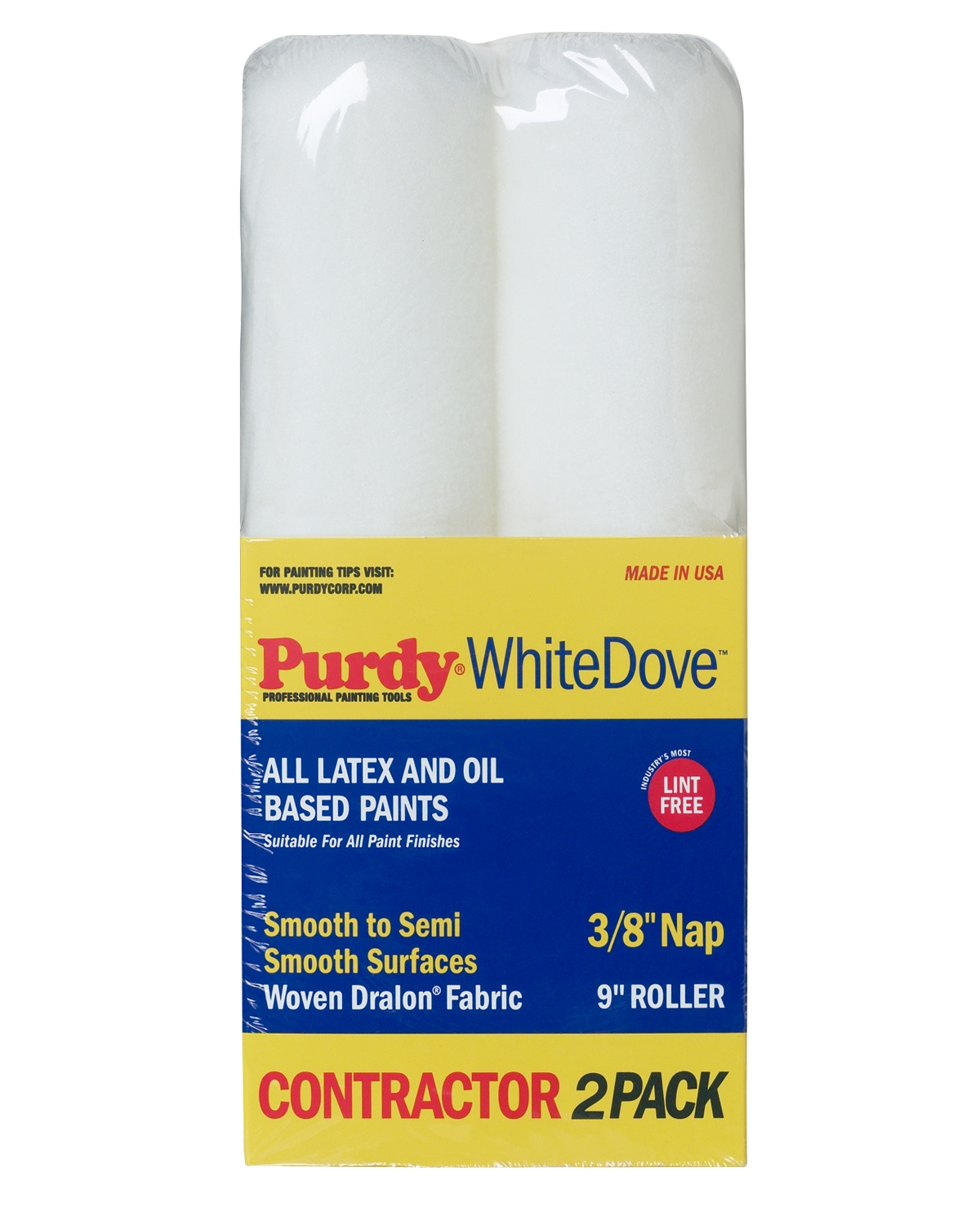 """Purdy® White Dove™ 9"""" Roller Cover 2-pack - 3/8"""" nap"""