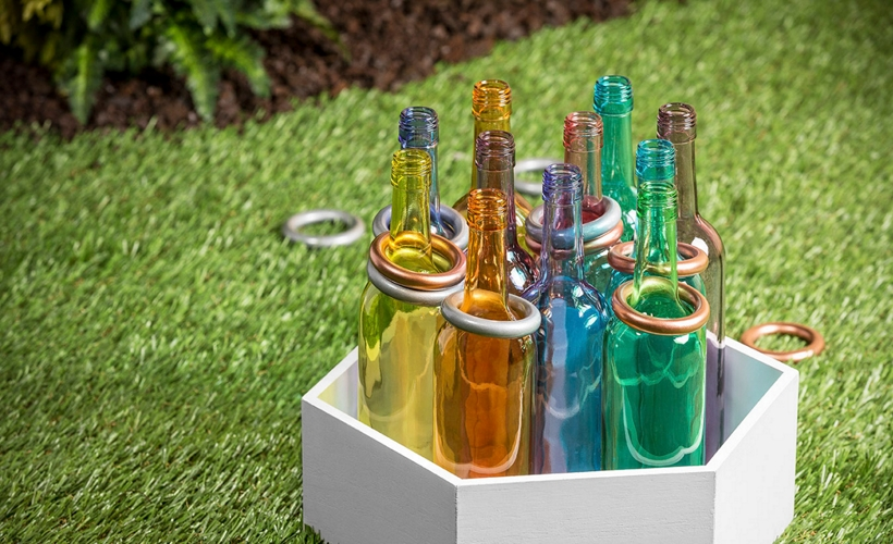 Ring Toss Bottles with Krylon® glass paints