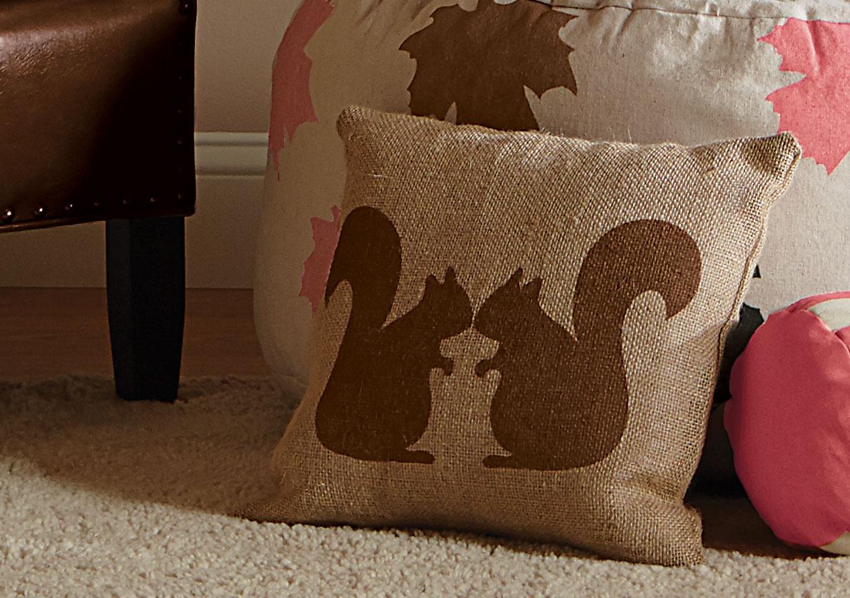Burlap Squirrel Pillow