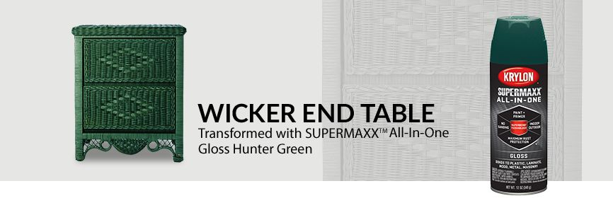 Wicker End Table, transformed with Krylon® SUPERMAXX® ALL-IN-ONE Hunter Green