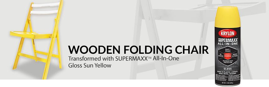 Wooden Folding Chair, transformed with Krylon® SUPERMAXX® ALL-IN-ONE Sun Yellow