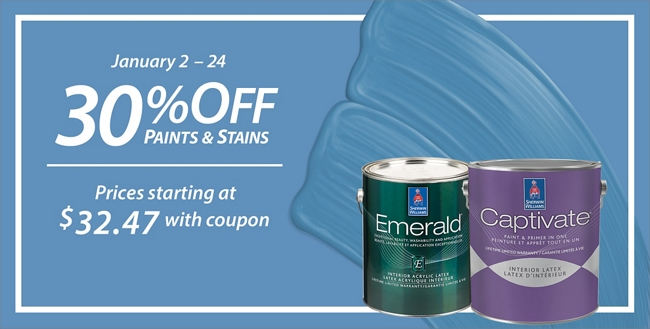 January 2 - January 24. 30% Off* Paints & Stains. Sale prices starting at $32.47.
