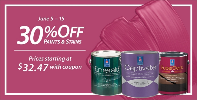 June 5 - 15. 30% Off* Paints & Stains. Sale prices starting at $32.47.