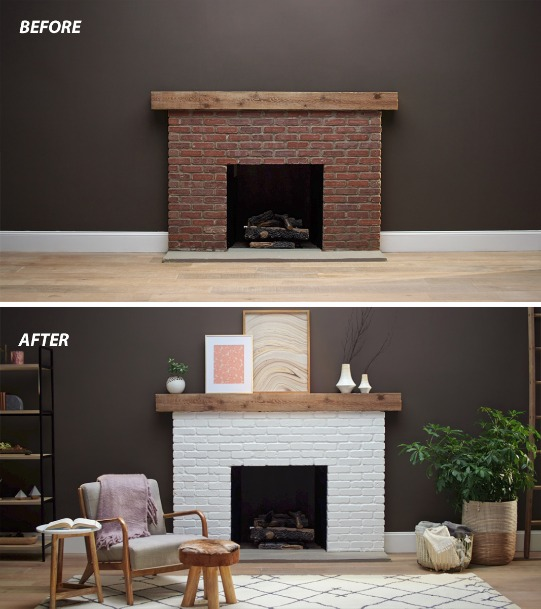 How To Paint A Brick Fireplace Fireplace Makeover Sherwin Williams