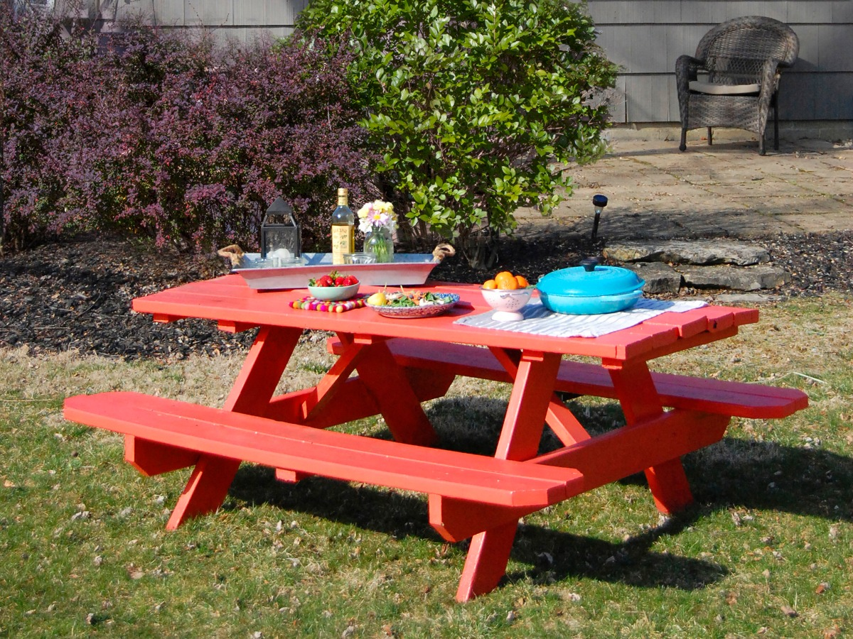colored wood patio furniture. Picnic Table Revamp Colored Wood Patio Furniture R