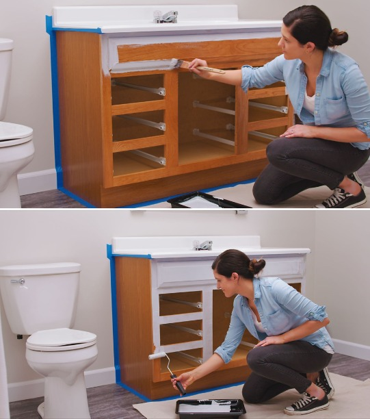 How To Paint Bathroom Vanity Cabinets, What Is The Best Sherwin Williams Paint For Bathroom Cabinets