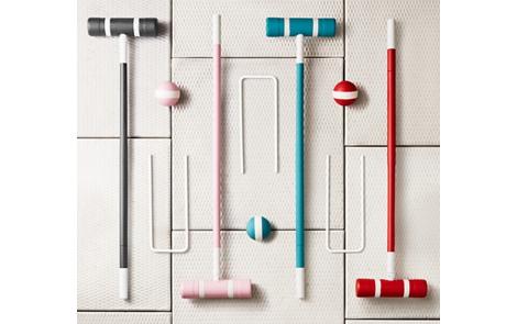 Spray painted croquet set