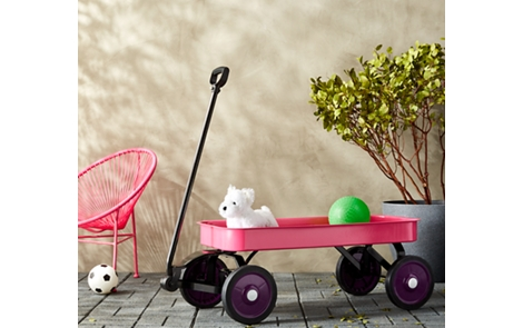 Spray painted wagon and associated toys