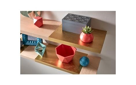 Wood and Metallic Finish Floating Shelves