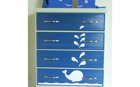 Whale Painted Dresser Spray Paint Project